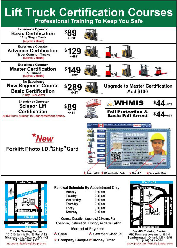 Forklift Safety Whmis Fall Protection Training Toronto